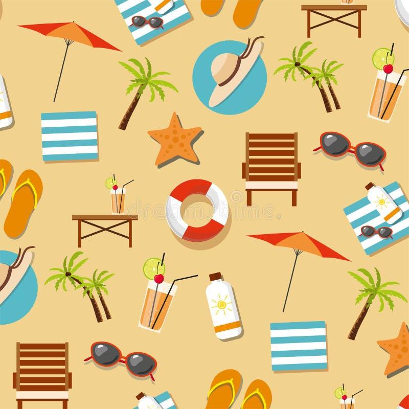 Tropisches Muster Ferien des Sommers mit Seestrandelementen lizenzfreie abbildung