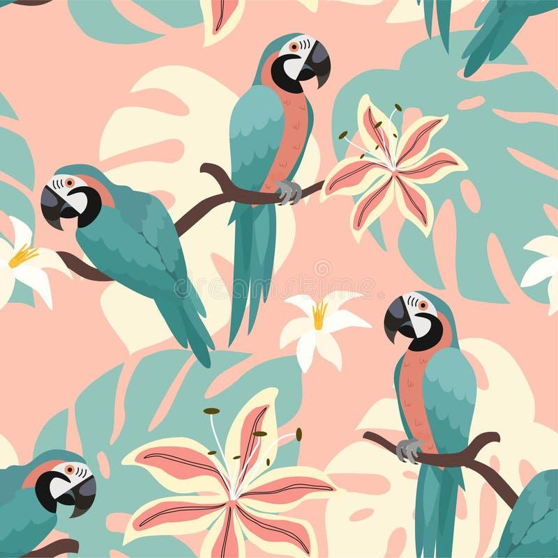 Tropisches Muster mit Papageien und tropische Blätter Vektornahtlose Beschaffenheit Modische Illustration lizenzfreie abbildung