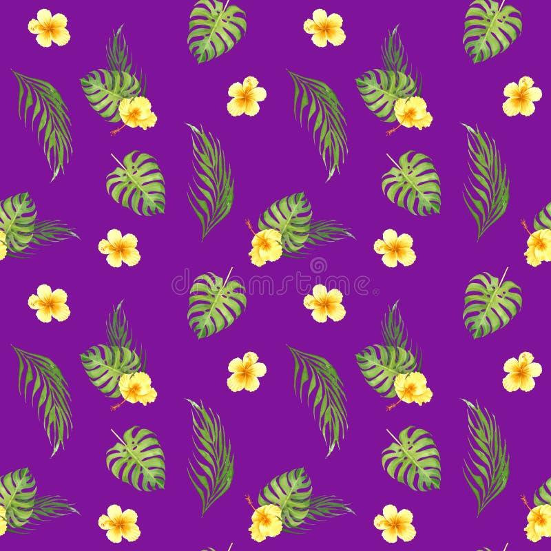 Tropisches nahtloses mit Blumenmuster des Aquarells mit grünen monstera Blättern und gelben Hibiscusblumen lizenzfreie abbildung