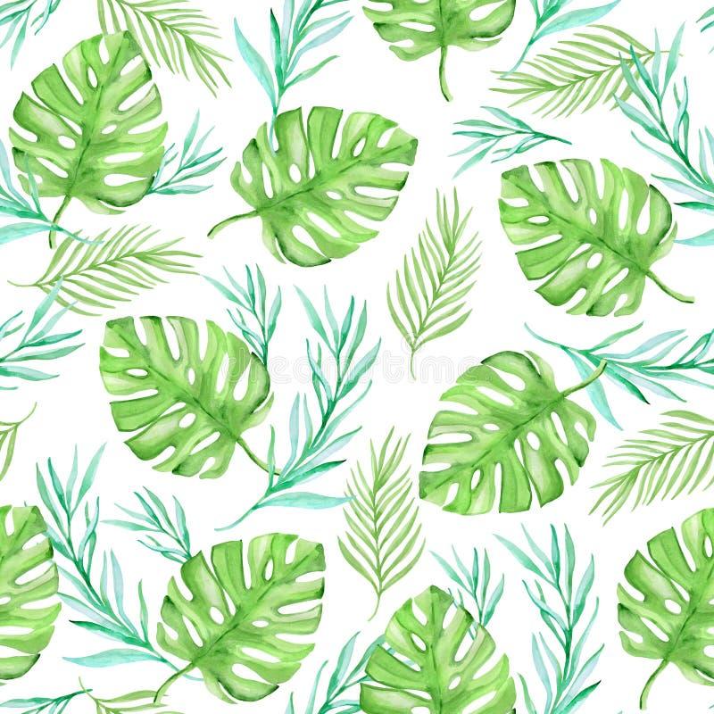 Tropisches nahtloses Muster des Aquarellblumensommers stock abbildung