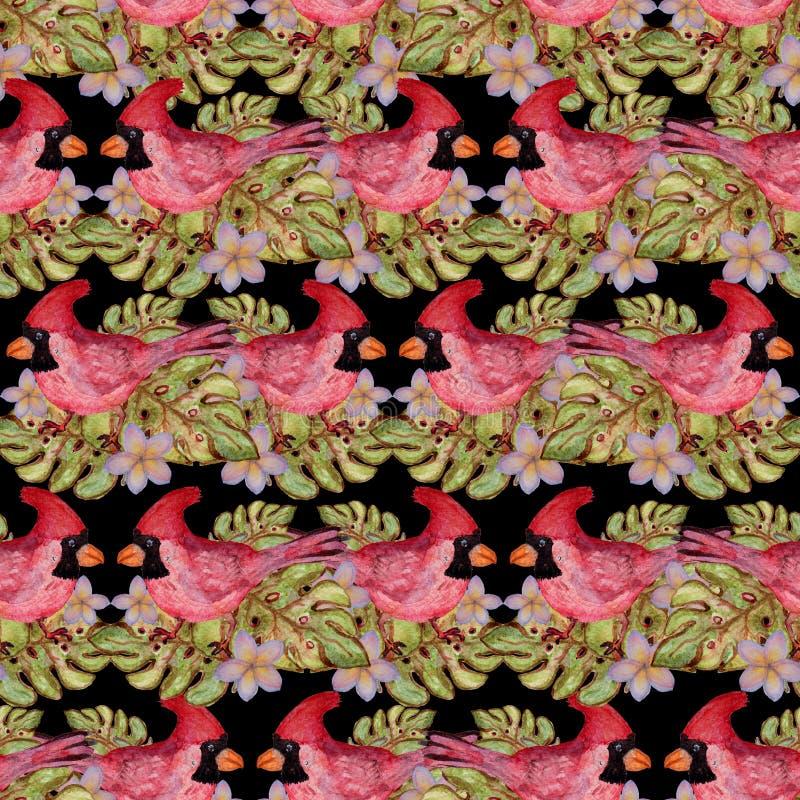 Tropisches nahtloses Muster des Aquarells stockbilder