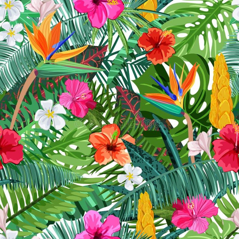 Tropisches nahtloses Muster mit Blumenhibiscus, Plumeria, Strelitzia und Palme, monstera Blätter Auch im corel abgehobenen Betrag stock abbildung