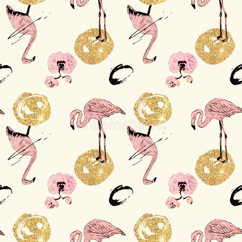 Tropisches nahtloses Muster mit Flamingo, Orchideen und goldenem Funkeln, Weinlese, Schmutzhintergrund vektor abbildung