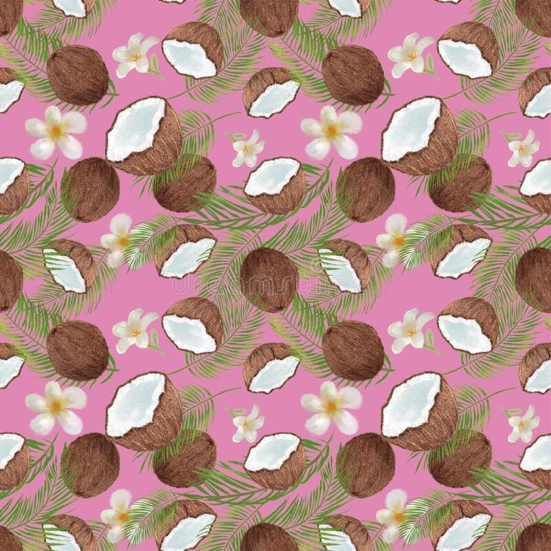 Tropisches nahtloses Muster mit Kokosnuss, Palmblätter Weinlese-Tapetenillustration der Handgezogenen Holzkohle botanische stock abbildung