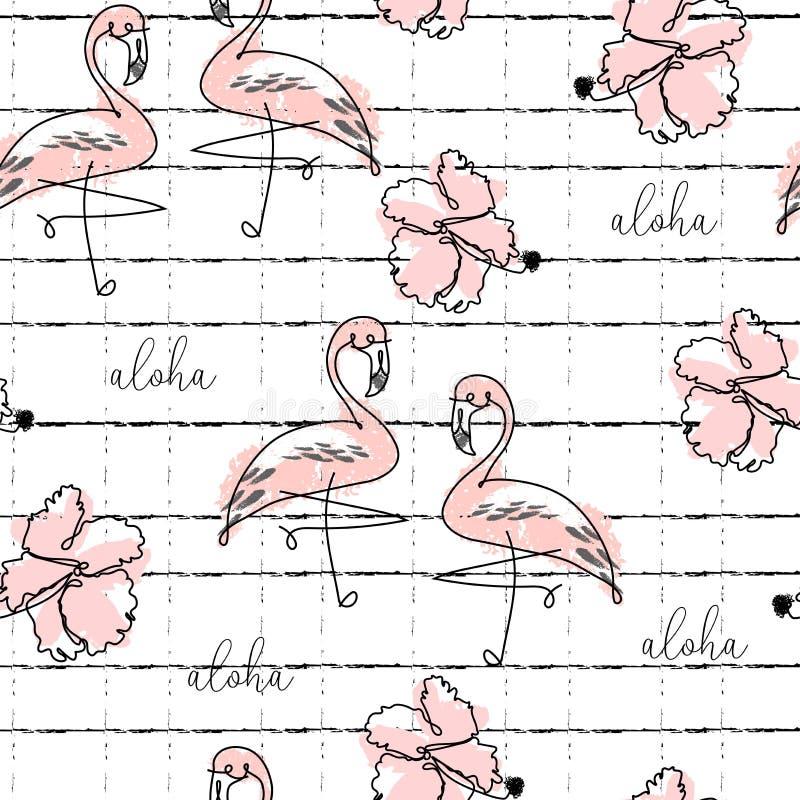 Tropisches nahtloses Muster mit nette Handgezogenen Gekritzeltieren vektor abbildung