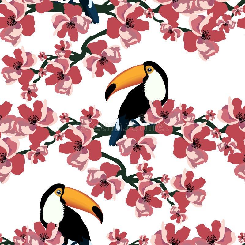 Tropisches nahtloses Muster mit netten Vögeln und Blumen Sommervektorhintergrund mit Tukanen Schließen Sie herauf Schuss lizenzfreie abbildung