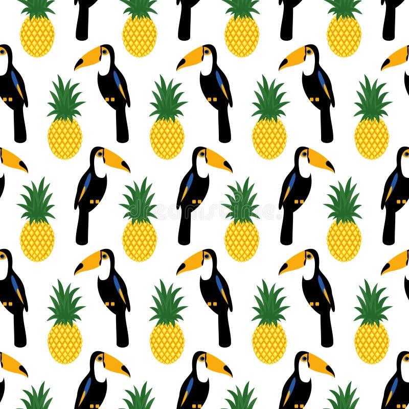 Tropisches nahtloses Muster mit Tukanen und Ananas lizenzfreie abbildung