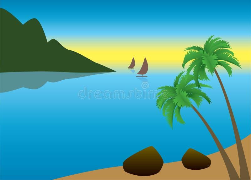 Tropisches Palm Beach morgens lizenzfreie abbildung