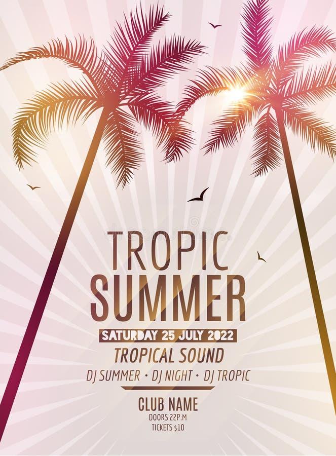 Tropisches Sommer-Strandfest Tropische Sommerferien und -reise Bunte exotische Insel des Hintergrundes und der Palme des tropisch stock abbildung