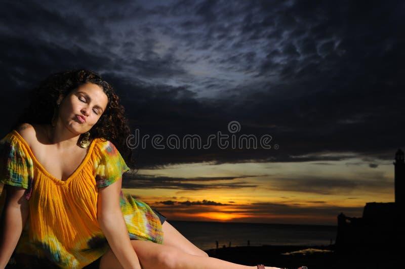 Tropisches Sonnenuntergangportrait stockbild