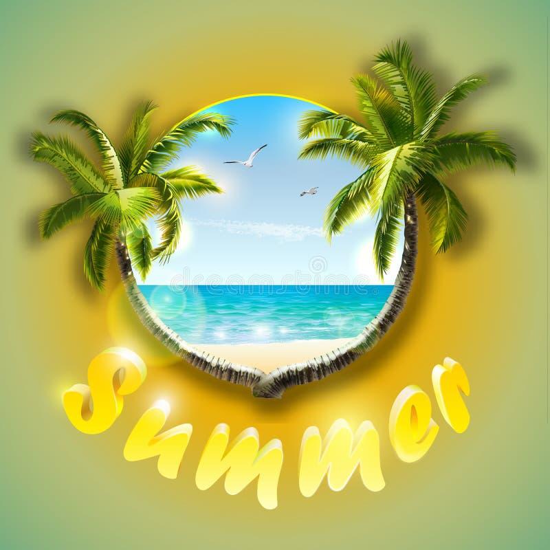 Tropisches Strandplakat Sommerurlaubspostkarte-Palmen auf Paradiesstrand stockfoto