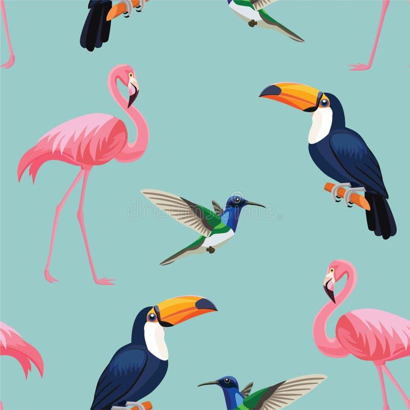 Tropisches Vogelmuster Vektornahtlose Beschaffenheit stock abbildung