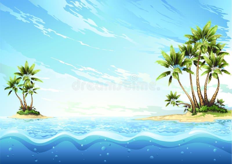 tropisk ö stock illustrationer