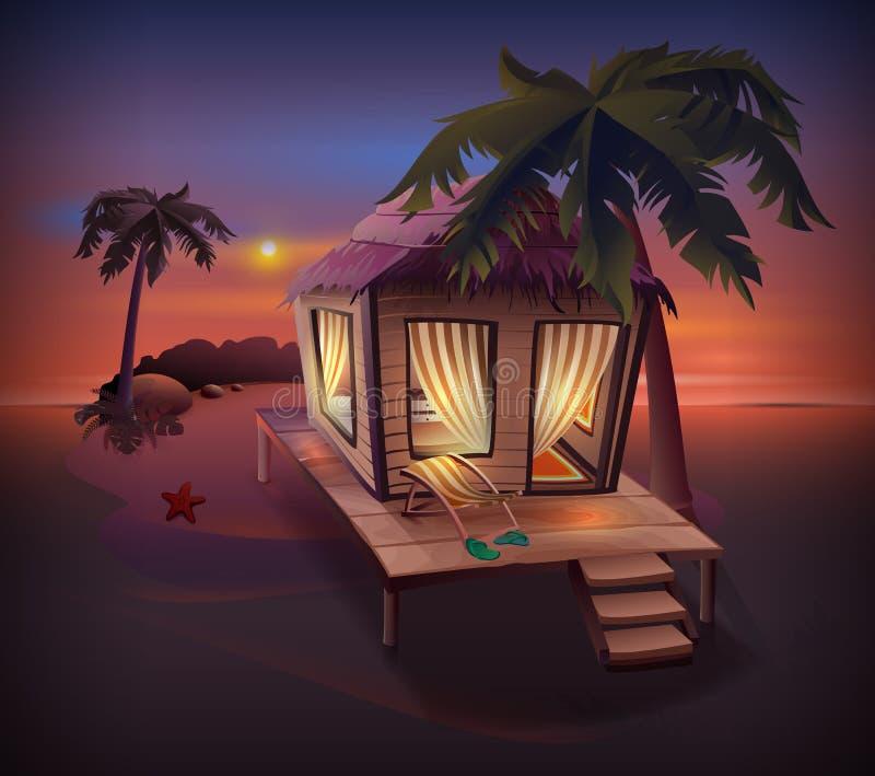 Tropisk ö för natt Sugrörkoja bland palmträd på havkust vektor illustrationer