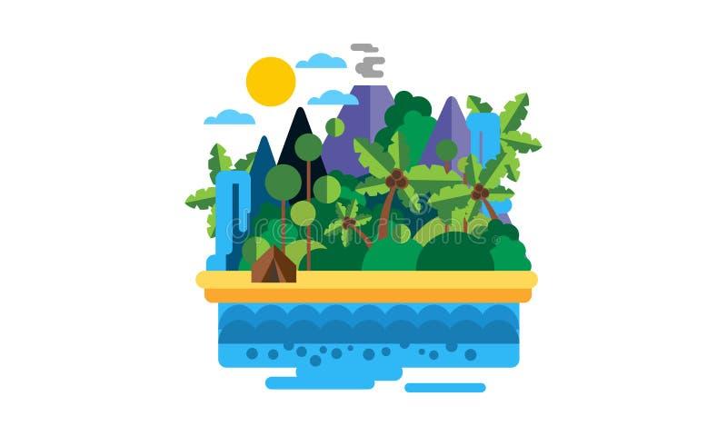 Tropisk ö, härligt landskap med den hav-, strand-, palmträd-, vulkan- och vattenfallvektorillustrationen stock illustrationer