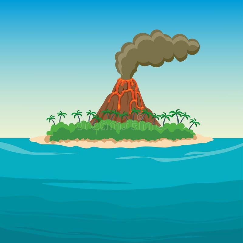 Tropisk ö i havet med palmträd och vulkan arkivbild