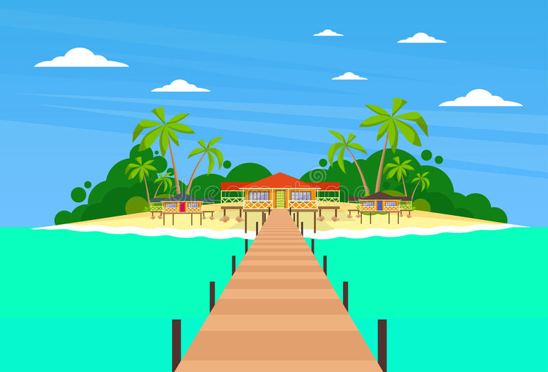 Tropisk ö långa Pier Summer Vacation Paradise stock illustrationer