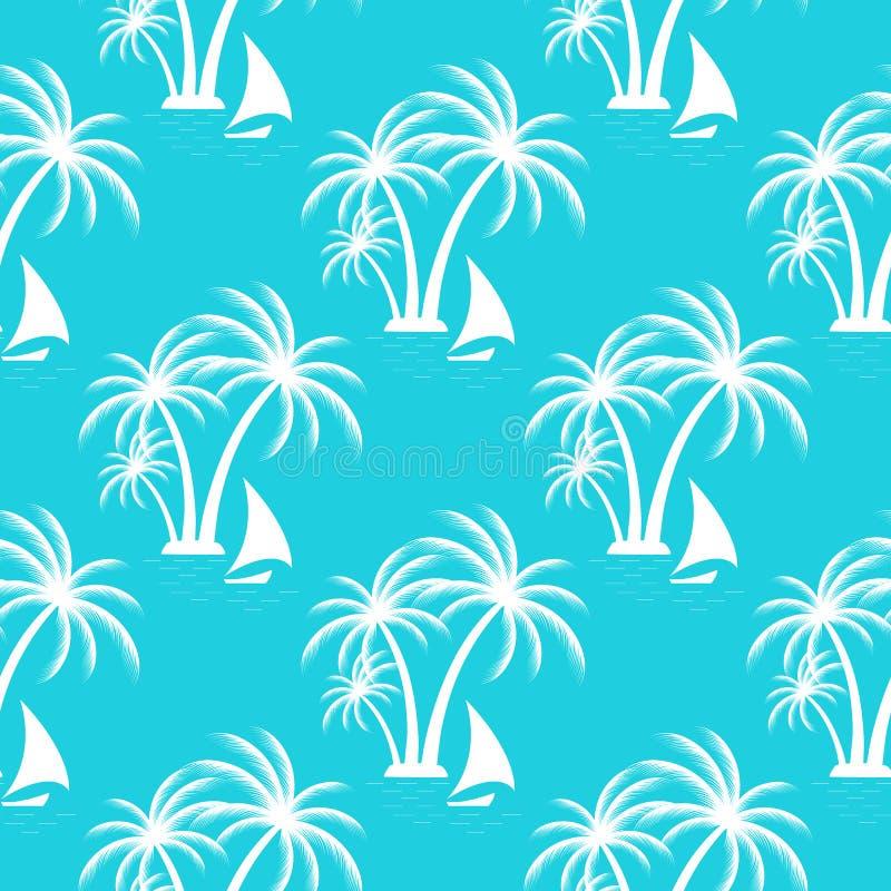 tropisk ö tropisk liggande Sömlös modell för segelbåt royaltyfri illustrationer