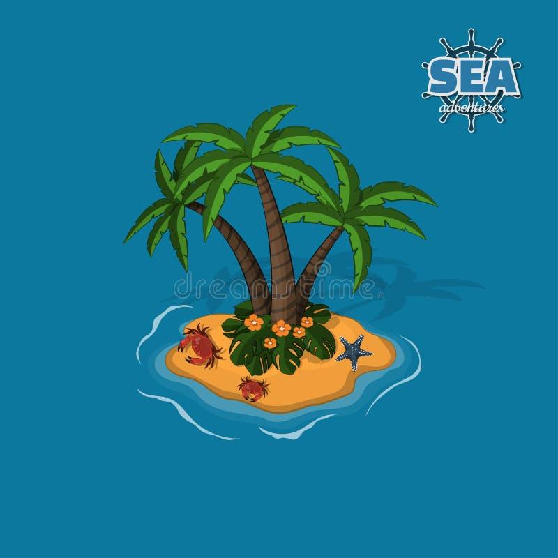 Tropisk ö med palmträd, krabbor och havsstjärnan Vändkrets i isometrisk stil Mobillek stock illustrationer