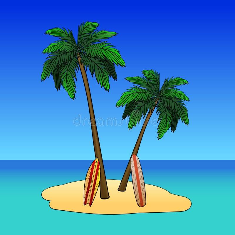 Tropisk ö med palmträdsommar som surfar lägret stock illustrationer