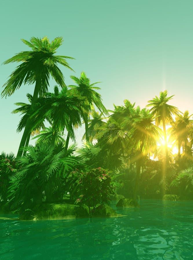 tropisk ösolnedgång vektor illustrationer