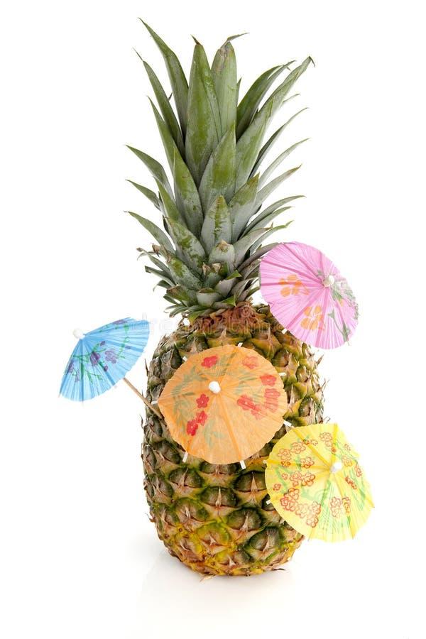 Tropisk ananas med cororful paraplyer arkivbild