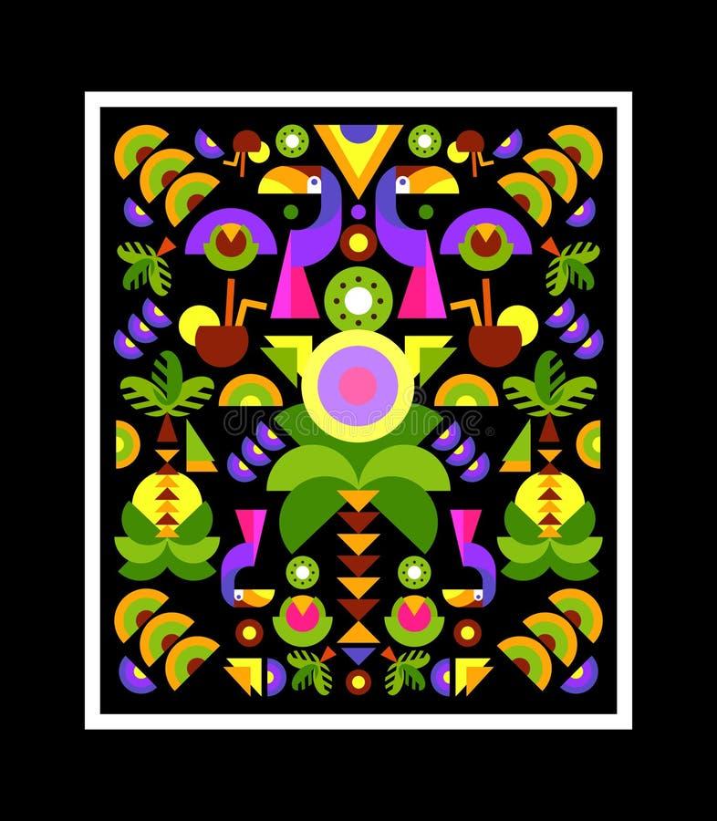 Tropisk Applique, tryck på t-skjortan stock illustrationer