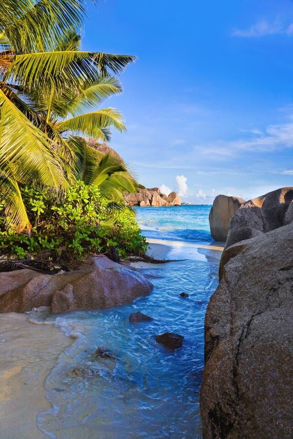 tropisk argent källa för strand D seychelles royaltyfria foton