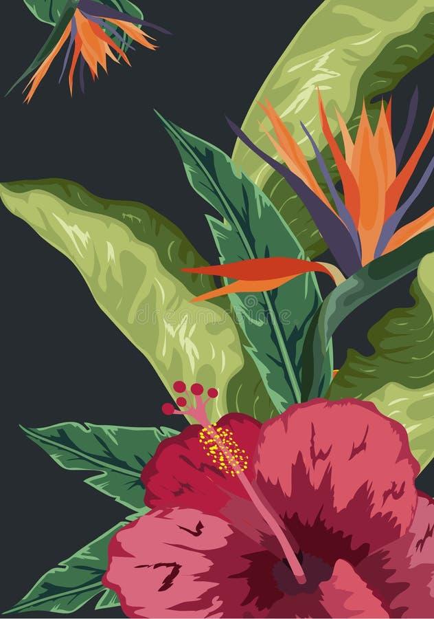 Tropisk bakgrund av palmträd och blommor stock illustrationer