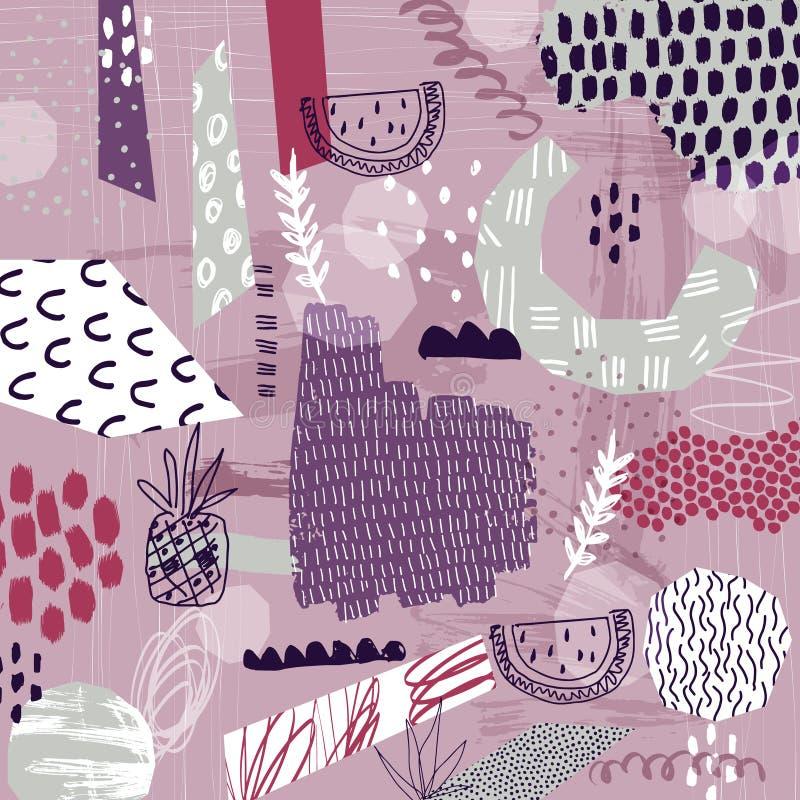 Tropisk bakgrund för abstrakt sommar Collagekonstaffisch vektor illustrationer