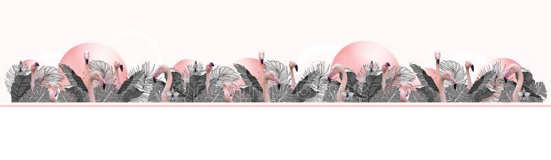 Tropisk bakgrund för rolig och modern sommar med exotiska palmblad och flamingo royaltyfri bild
