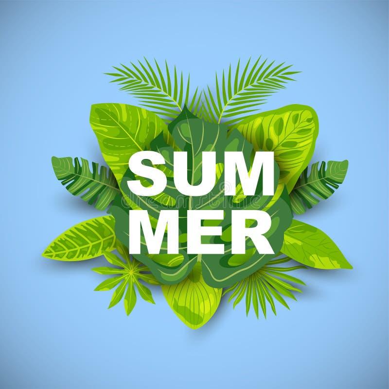 Tropisk bakgrund f?r gr?n sommar med exotiska sidor stock illustrationer