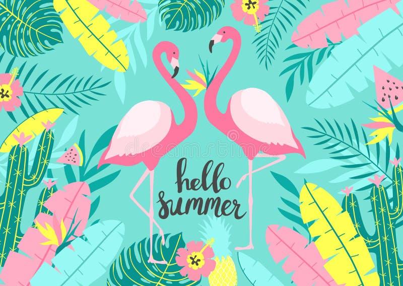 Tropisk bakgrund med av två gulliga flamingo med inskriften - Hello sommar För tryckdesign stock illustrationer