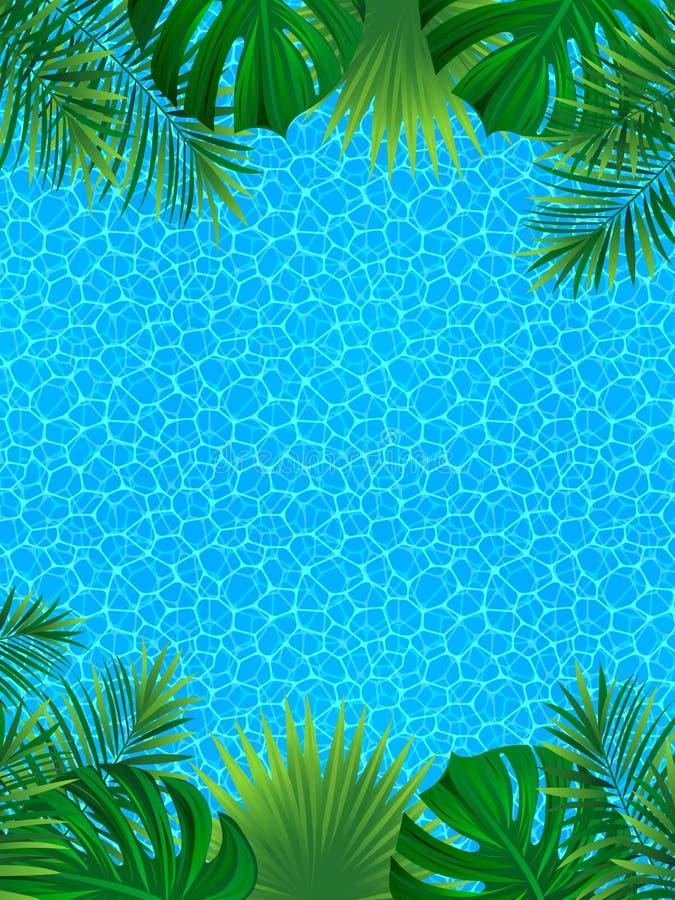 Tropisk bakgrund med den exotiska djungelrainforesten gömma i handflatan sidor, vattentextur Vertikal gränsram sätta på land vänd royaltyfri illustrationer