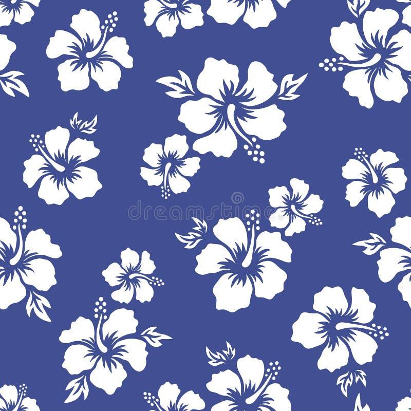 Tropisk bakgrund med hibiskusblommor seamless hawaiansk modell Exotisk vektorillustration royaltyfri illustrationer