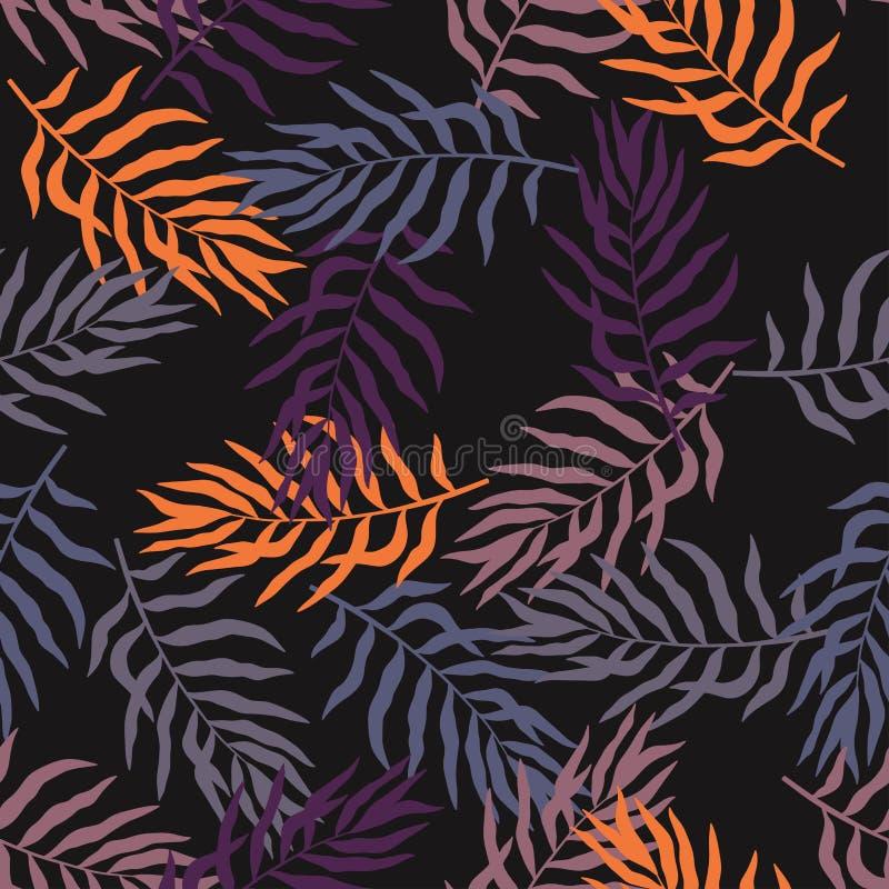 Tropisk bakgrund med palmblad och blommor seamless blom- modell Sommarvektorillustration Plant djungeltryck stock illustrationer