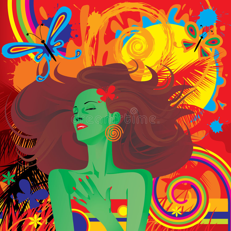 tropisk bevekelsegrund royaltyfri illustrationer