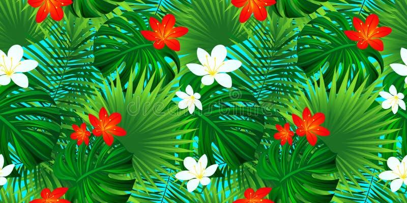 Tropisk blom- sömlös modell Mallblommatextur exotisk bakgrund med palmblad, monsterablad, djungel vektor illustrationer