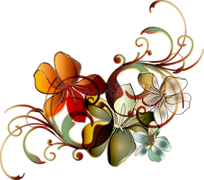 tropisk blom- scroll vektor illustrationer