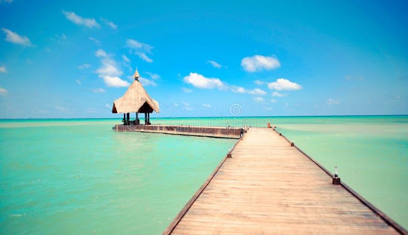 Download Tropisk brygga över havet arkivfoto. Bild av brygga, koja - 27277232
