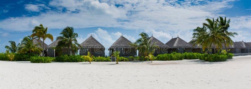 Tropisk bungalospanoramasikt med vita sand och palmträd på Maldiverna arkivbilder