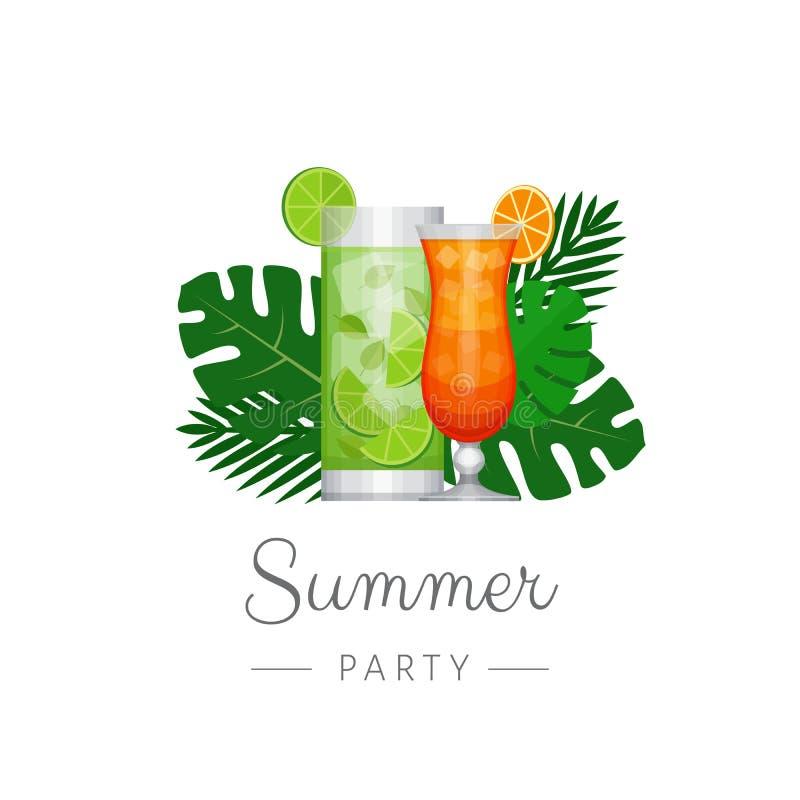 Tropisk coctail för sommar med palmblad Cocktailpartyaffisch royaltyfri illustrationer