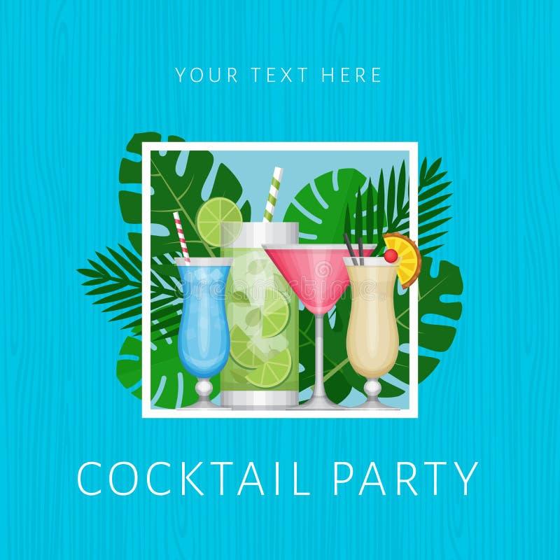 Tropisk coctail för sommar med palmblad Cocktailpartyaffisch vektor illustrationer