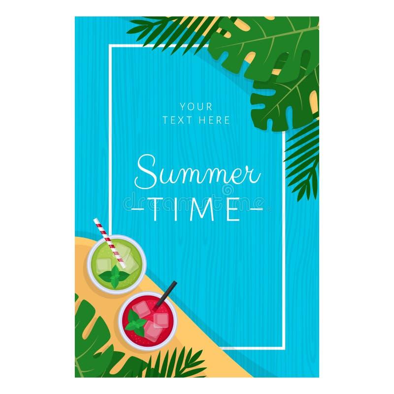 Tropisk coctail för sommar med palmblad Cocktailpartyaffisch stock illustrationer