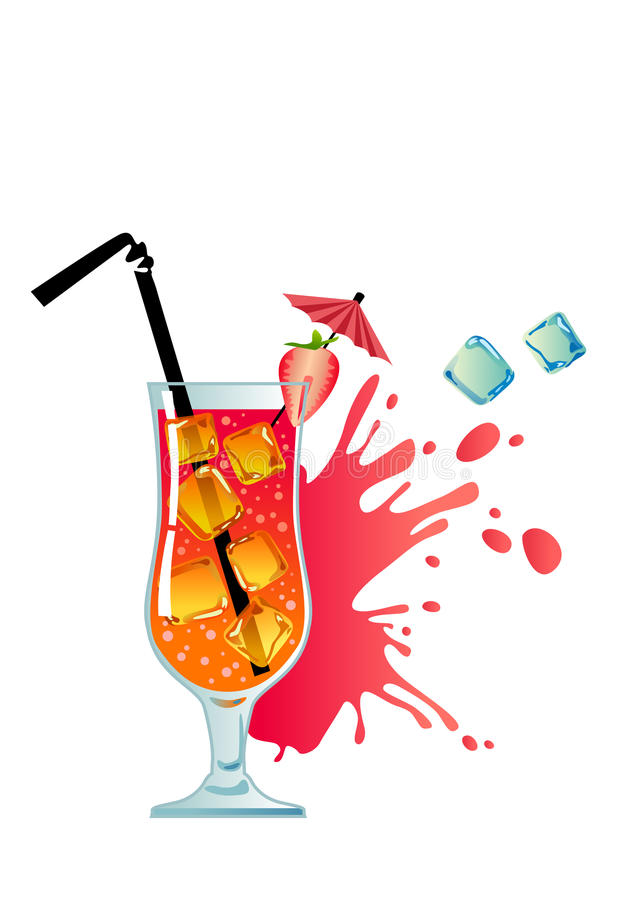 tropisk coctailisjordgubbe stock illustrationer