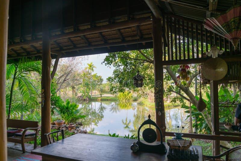 Tropisk damm- och trädgårdsikt från kallt av skuggig lantlig stil po arkivbild