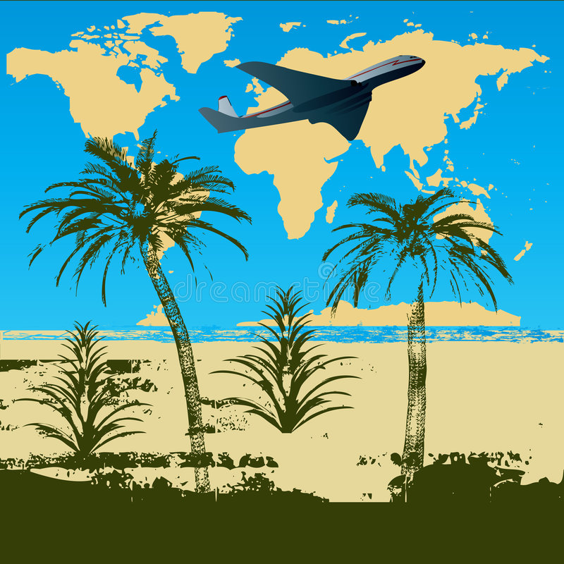 tropisk destination vektor illustrationer