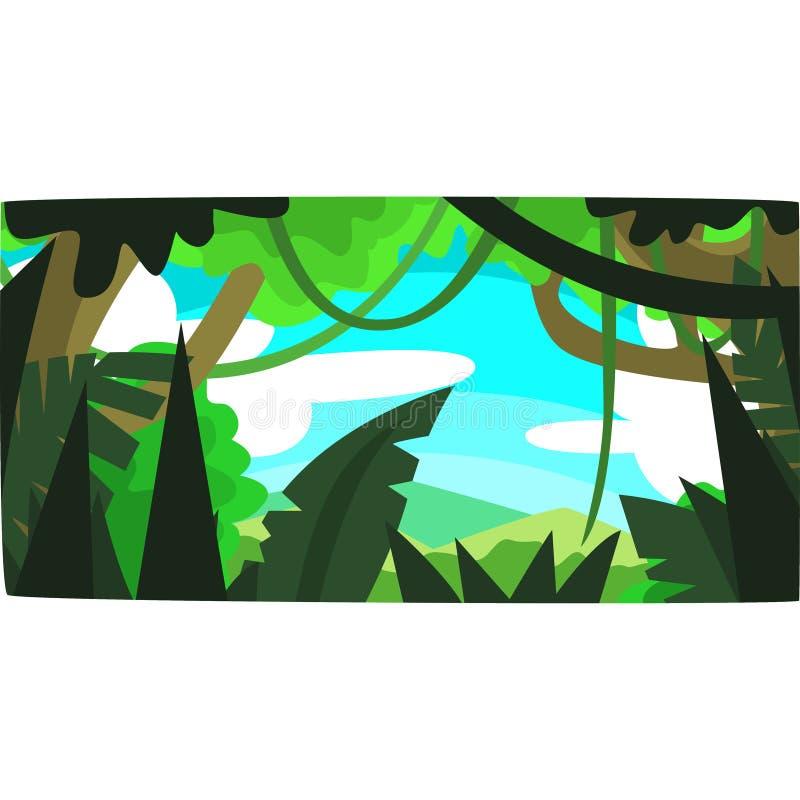 Tropisk djungel, grönskande skogbakgrund med sidor, buskar och träd, tropiskt skoglandskap i en dagtidvektor vektor illustrationer