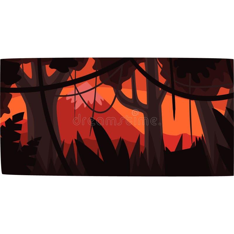 Tropisk djungelbakgrund på solnedgången, härlig tropisk illustration för rainforestlandskapvektor stock illustrationer