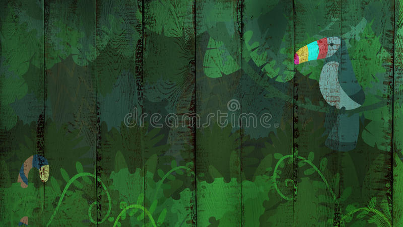 Tropisk djungelmodell på träbakgrund royaltyfri illustrationer
